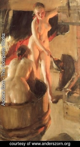 Anders Zorn - Badande kullor i bastun (Women bathing in the sauna)