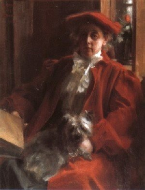 Anders Zorn - Emma Zorn och hunden Mouche (Emma Zorn and Mouche, the dog)