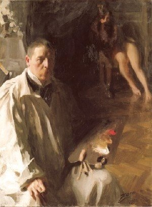 Anders Zorn - Självporträtt med modell (Self-portrait with a model)