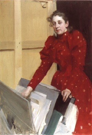 Anders Zorn - Porträtt av Emma Zorn i Parisateljén (Portrait of Emma Zorn in the Paris studio)