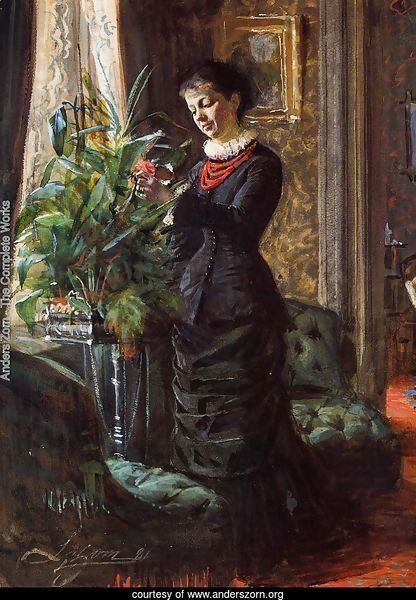 Portrait of Fru Lisen Samson, nee Hirsch, Arranging Flowers at a Window