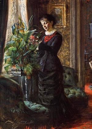 Anders Zorn - Portrait of Fru Lisen Samson, nee Hirsch, Arranging Flowers at a Window