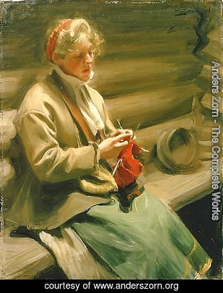 Anders Zorn - Girl from Dalecarlia knitting