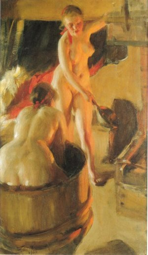 Anders Zorn - Girls from Dalarna in the sauna