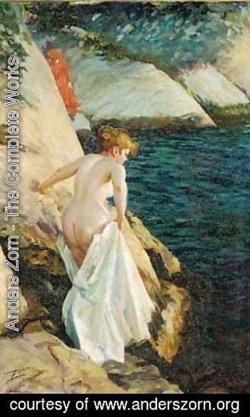 Anders Zorn - A bather at the rocks