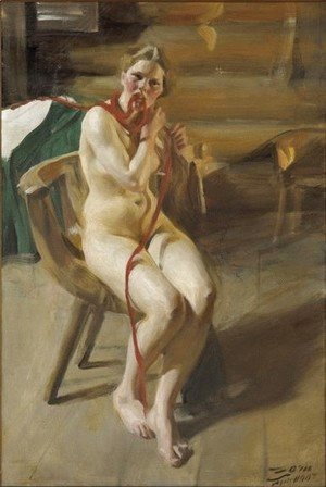 Anders Zorn - Nude woman arranging her hair