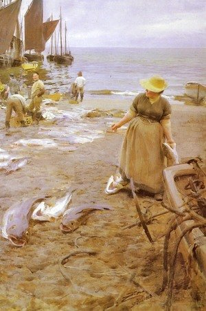 Anders Zorn - Fiskmarknad I St  Ives