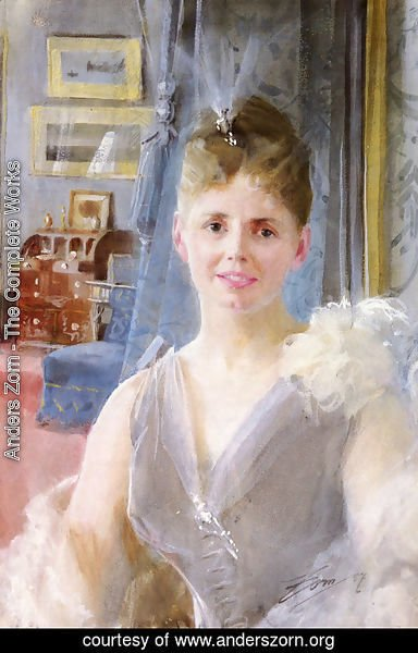 Anders Zorn - Portrait Of Edith Palgrave Edward In Her London Residence